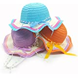 3Pcs Girls Tea Party hats with bowknot,Children sun hats, beach hats (orange,blue,coffee)