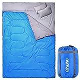 Ohuhu 寝袋 封筒型 2人用 丸洗いok 連結可能 最低使用温度 -5度 枕付き (ブルー)