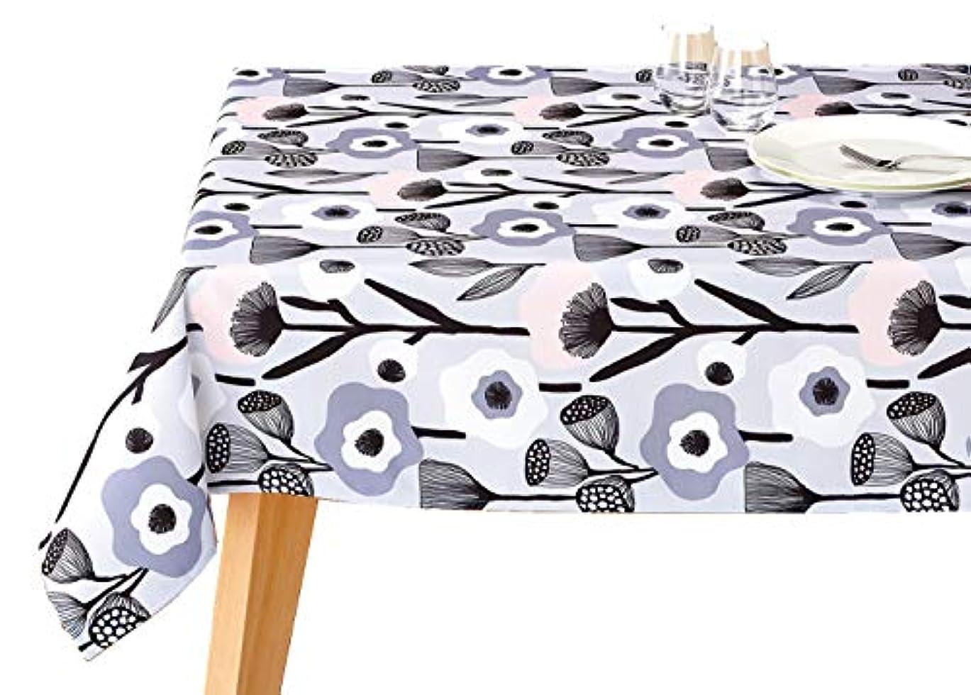不適当欠乏たくさんテーブルクロス [撥水加工] 北欧 長方形 (130×170㎝) 4人用テーブル向け [オック?テイヤブルーン監修] ケサ グレー ブルーミング中西