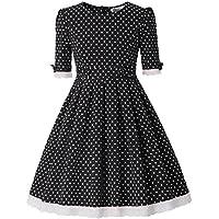 Danna Belle Girls Vintage Polk Dot Swing Cotton Dresses with Belt