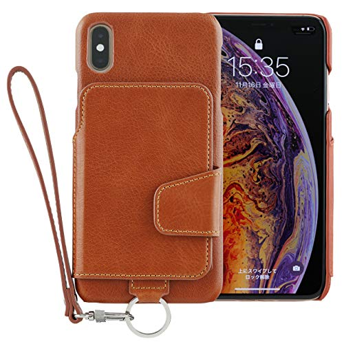 <iPhone XS Max>RAKUNI (ラクニ) 本革 背面手帳型iPhoneケース/前面カバーレス/カード複数枚/ストラップ/スタンド機能/財布いらず