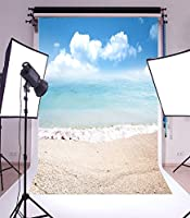lfeey Seaside写真背景5x 7ftビーチホワイトクラウドブルー水Waveアウトドア画像Lovers大人用芸術的肖像写真の撮影小道具ビデオドレープ壁紙