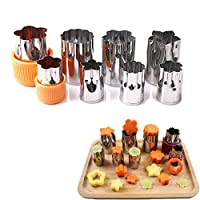 New Arrival 8 Piece Vegetable Cutter Stainless Steel Flower Star Shape Fruits Slicer Mold Cake Cookie Biscuit Press