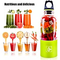 ボトルブレンダー ECVILLA ジューサー 500ml容量 軽量・コンパクト 電動式 USB充電  野菜と果物ミキサー スムージー手作り 栄養補給 家庭用 4枚刃付き (緑)