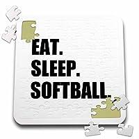 InspirationzStore Eat Sleepシリーズ–Eat Sleepソフトボール–チームスポーツPlaying Enthusiast再生プレーヤーテキスト–10x 10インチパズル(P。_ 180444_ 2)