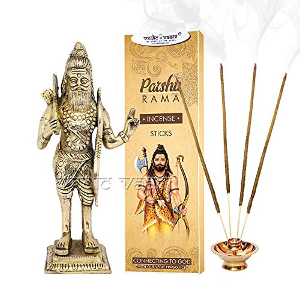 結核ピン金額Vedic Vaani Maharaj Parshuram 真鍮アイドル パラシュラマ香スティック付き
