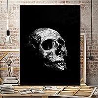 黒と白のポスターとプリント現代抽象スカル壁アートキャンバス絵画北欧ホーム寝室アート装飾写真50×70センチなしフレーム