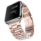 Fly Skyline 腕時計バンド Apple Watch i Watch 38 42mm アップルウォッチベルト ステレンス 金属 連結器等5点セット 黒 ブラック 3連駒 スマートフォンアクセサリ (42mm-ローズゴールド)