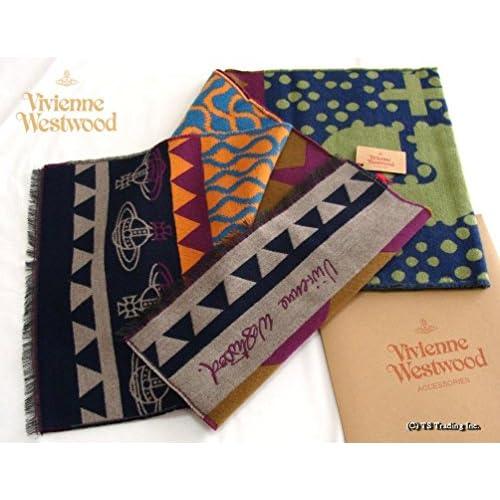 ヴィヴィアン ウエストウッド Vivienne Westwood +5 ORB&スクイグル柄 ラージ スカーフ シルクウール マフラー Made in Italy (NAVY/Green)[並行輸入品]