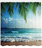 Best Ambesonneシャワー - Ambesonne オーシャンシャワーカーテン パームトロピカルアイランドビーチ 海岸水波 ハワイアン海洋海洋海洋 布生地 バスルーム装飾セット フック付き Review