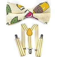 Kids Suspenders And Bow Tie Set Adjustable Suspender Bowtie Necktie Sets Boys And Girls (Milk White Yellow Striped + Deep Khaki Bowtie)