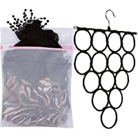 (Black) - PERFECT Scarf Hanger or Tie Rack with FREE Mesh Laundry Bag for Washing Delicate Scarves & Lingerie, BEST Compact Organiser for Use in Closet or College Dorm Room by Big Sister Solutions