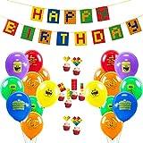 SUNBEAUTY 誕生日飾り付けセット 男の子 誕生日ガーランド 風船 バルーン ケーキトーパー 子供 パーティー飾り付け ハーフバースデー 飾り 写真背景 (セット)
