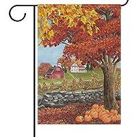 秋秋の収穫庭旗家バナー、カボチャのカエデの葉装飾的な歓迎のフラグホリデーウェディングパーティーヤードホーム屋外の装飾12×18インチ