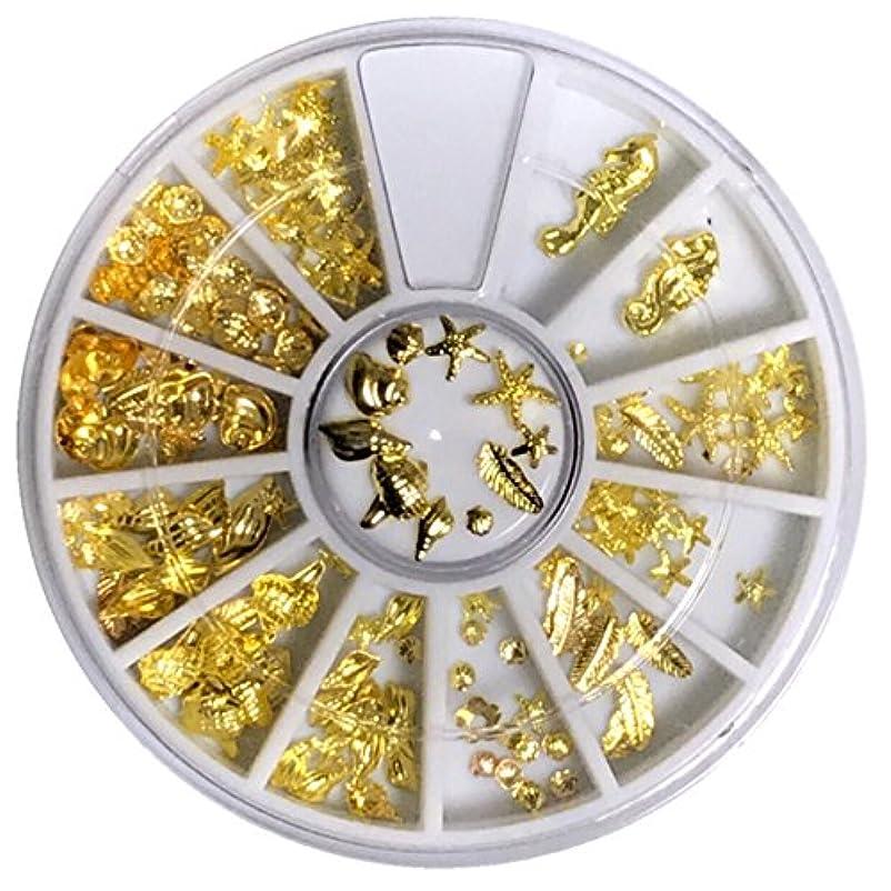 強います便利さ溝ネイルパーツ シェルパーツ 海系12種 大量セット (ゴールド)