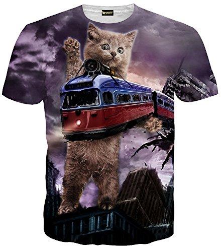 (ピゾフ)Pizoff メンズ 半袖 ネコ柄 列車 奇抜 3D プリント 面白 TシャツC7058-06-M