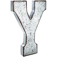 """Huge 20""""メタルアルファベット壁飾り文字"""" Y """" Rustedエッジ亜鉛メッキメタル"""