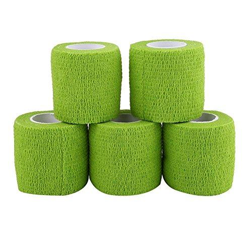 テーピングテープ キネシオ テープ テーピング 自着性テープ 不織布 伸縮性&通気性 エラスチックバンデージ 筋肉・関節サポート 弾性包帯 汗に強い 5巻入 4.5m/巻 (グリーン)