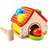 Kidsidol ベビー 木製 ハンマー おもちゃ ハウス おもちゃ 小型 ハンマー ノックボール 安全で耐久性あり 教育玩具 0-3歳 赤ちゃん 幼児 子供