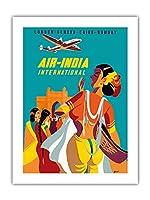 ロンドン、ジュネーブ、カイロ、ボンベイ - エアインディアインターナショナル - ビンテージな航空会社のポスター によって作成された アジアート c.1950 -プレミアム290gsmジークレーアートプリント - 46cm x 61cm