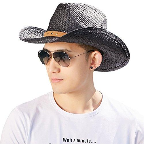 (シッギ)Siggi おしゃれ パナマ中折れストローハット 麦わら紳士帽子 ウエスタンカウボーイハット テンガロンハット ハット 帽子 メンズ 春夏 57cm 58cm 59cm メッシュ フリーサイズ UV ゴルフ あご紐 黒