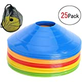 彼岸花の小屋 マーカーコーン トレーニングコーン コンパクト マーカーディスク サッカー/フットサル用 カラーコーン 5色 25枚セット収納袋付き