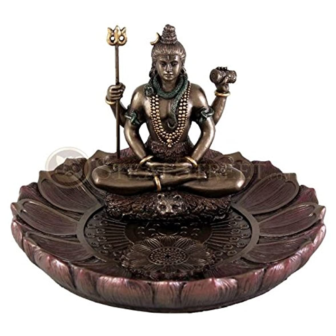 切手彼らはストラトフォードオンエイボンHindu God Shiva in Meditation Round Incense Holder Plate Incense Burner by Top Collection