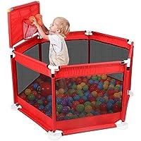 アウトドアホームキッズセーフティアクティビティセンター6パネル、赤と屋内折り畳み式ポータブルベビープレイフェンスフェンス (色 : Playpen+500 Balls)