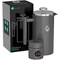 Coffee Gator フレンチプレス コーヒーメーカー 1000ml(グレー)ステンレス製で頑丈・保温性抜群 約4杯分 携帯用ミニ容器付