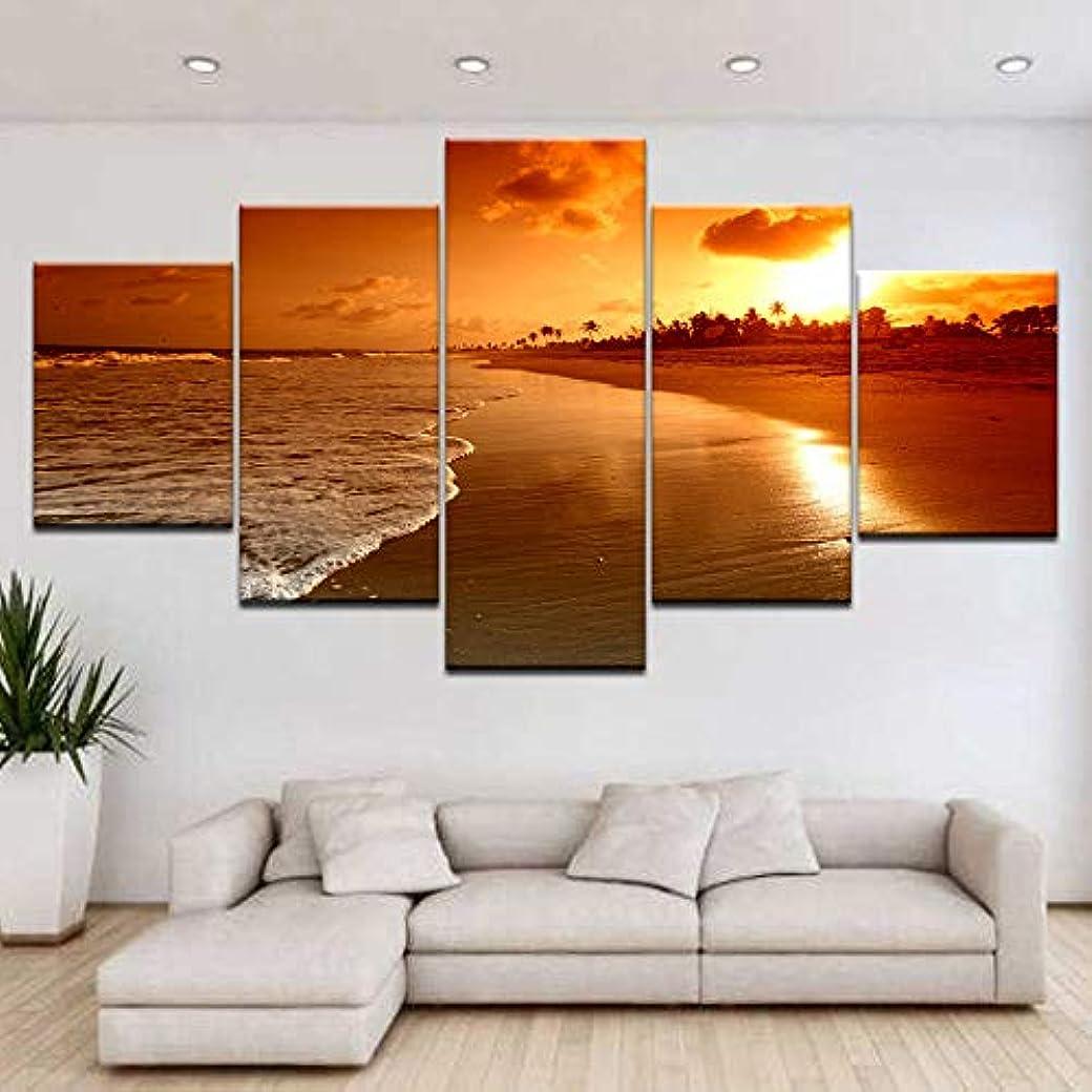 モンスター保持ボーダーSsckll 5ピースHd印刷キャンバス絵画サンセットビーチ波風景アートグループ家の装飾壁ポスターモジュラー写真-フレーム