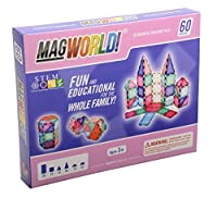 MagWorld Toys Magnetic Construction Pastel Colors-60 Piece Set. Create 2D and 3D Shapes Figures & Architecture. Beginner to Advanced STEM Play Age 3 and Up. [並行輸入品]