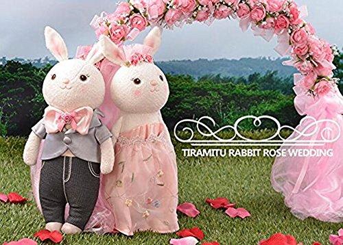 人気の Metooブランド Metoo☆Tiramitu(ミートゥー☆ティラミス) 二人の ☆記念日に ウサギちゃん ぬいぐるみ ウェディングウェルカムバニー 人形 カップル ペア 大切な プレゼント15インチ+ギフトボックス+立ちスタンド