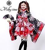 [milky time] 和風 浴衣 ミニスカ コスプレ ハロウィン コスチューム セット 夏祭り 花魁 ミニ着物