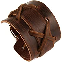 HZMAN Authentic Wide Leather Casual Mens Brown Cuff Bangle Bracelet