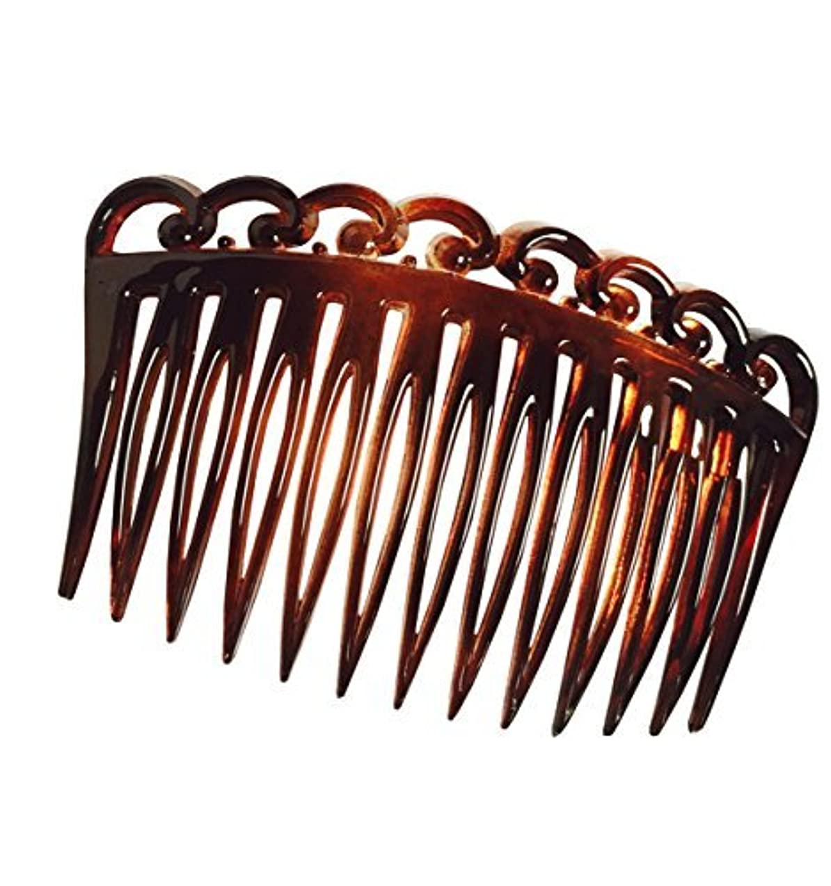 Parcelona French Swirl Set of 2 Celluloid Acetate Brown Tortoise Shell Side Hair Combs 2 Pcs [並行輸入品]