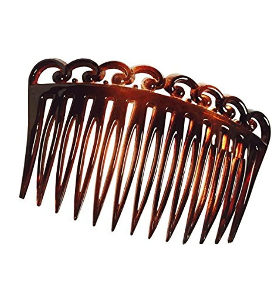 指定オーラルパーティションParcelona French Swirl Set of 2 Celluloid Acetate Brown Tortoise Shell Side Hair Combs 2 Pcs [並行輸入品]