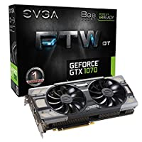 EVGA GeForce GTX 1070 FTW DT GAMING ACX 3.0, 8GB GDDR5, RGB LED, 10CM FAN, 10 Power Phases, Double BIOS, DX12 OSD Support (PXOC) Graphics Card 08G-P4-6274-KR [並行輸入品]