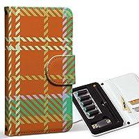 スマコレ ploom TECH プルームテック 専用 レザーケース 手帳型 タバコ ケース カバー 合皮 ケース カバー 収納 プルームケース デザイン 革 チェック・ボーダー チェック 緑 オレンジ 003735