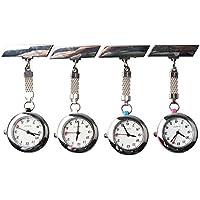Steel Crystal Nurse Lapel Watch Doctor Paramedic Tunic Brooch Quartz FOB Pocket Watch (Pack of 4)