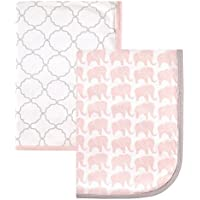 Hudson Baby Interlock Cotton 2 Piece Swaddle Blanket Girl Elephant [並行輸入品]