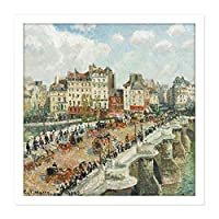Pissarro The Pont Neuf Square Wooden Framed Wall Art Print Picture 16X16 Inch 木材壁画像