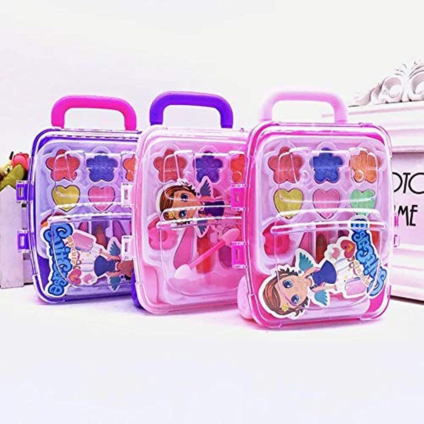 一口ランプトランクライブラリかわいい王女ふりメイクセット化粧品シミュレーション子供女の子子供のおもちゃ - ランダムな色
