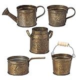 (セット品:5個セット) ナンバリングミニブリキポット (植木鉢) L アンティーク (5種×各1個) PETIT TIN Number ガーデン用品