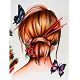 Diyの油絵子供のためのデジタル油絵大人初心者16x20インチ、蝶と女性----クリスマスの装飾ホームインテリアギフト (フレームなし)