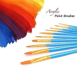 Xpassion 画材筆 ペイント ブラシ アクリル筆 水彩筆 油絵筆 画筆 丸筆 平型筆 平型円頭筆 短毛筆 10本セット (ブルー)