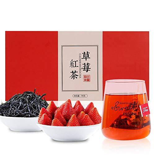 果物のお茶 いちご紅茶 ティーバッグ 草莓紅茶包90g(3g*30包) 花茶 中国茶 紅茶 茶葉 無添加100%