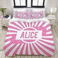 VAMIX 布団カバー シングル 3点セット,ラジアルBackgroundにピンク色でレタリングの女の子のためのグランジ探しデザイン, ベッド用 掛け布団 + 枕 カバー 洋式 和式兼用190 x 210cm