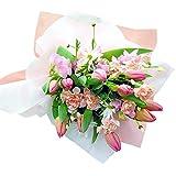 チューリップと春のお花の花束 ピンク
