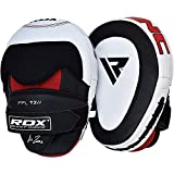 RDX Boxing Pads Gel Focus Mitts Genuine Leather MMA Muay Thai Hook and Jab Curved Kickboxing Training Strike Target Hand Pads Martial Arts Punching Shield
