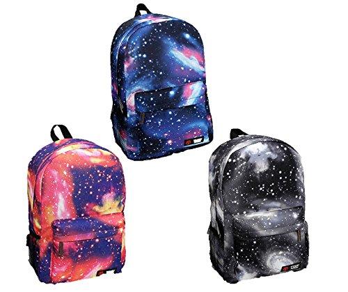 (ケイグラッソ)K-grasso+リュック サック バッグ パック デイバッグ 宇宙 柄 星 スター コスモ カラー ブルー ピンク ブラック ワッペン 通学 通勤 学生 旅行 楽ちん 大容量 フリー